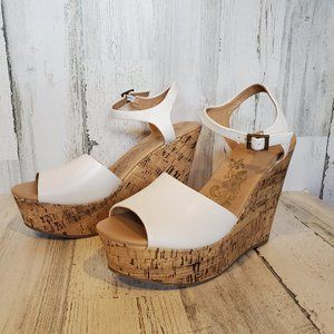 COPY - Brash White Cork Wedge Sandals Peep Toe